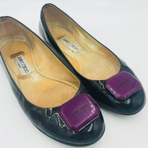JIMMY CHOO LONDON Black Purple Emblem Flats